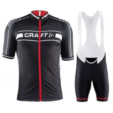 2015 Craft Bike Grand Tour Black-Red Cycling Jersey And Bib Shorts Set