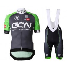 2016 Team GCN Black And Green Cycling Jersey And Bib Shorts Set