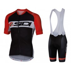 2016 Sidi Black-Red Cycling Jersey And Bib Shorts Set
