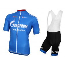 2016 Gazprom-Rusvelo Colnago Blue Cycling Jersey And Bib Shorts Set