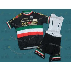 Katusha Black/Green Cycling Jersey And Bib Shorts Set