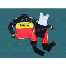 2012 BMC Belgium Champion Thermal Long Cycling Long Sleeve Jersey And Bib Pants Set