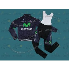 2013 Movistar Thermal Long Cycling Long Sleeve Jersey And Bib Pants Set