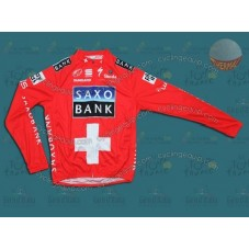 Saxo Bank Red Thermal Cycling Long Sleeve Jersey