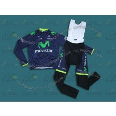 2014 Team Movistar Cycling Long Sleeve Jersey And Bib Pants Set