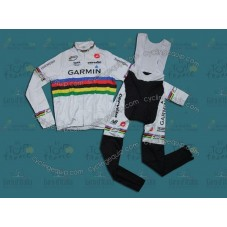2011 Garmin Cervélo World Champion Thermal Cycling Long Sleeve Jersey And Bib Pants Set