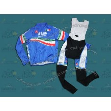 2011 Skoda Italy Champion Blue Thermal Cycling Long Sleeve Jersey And Bib Pants Set