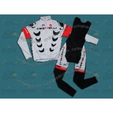 2012 Team Castelli White Thermal Cycling Long Sleeve Jersey And Bib Pants Set