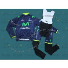 2014 Team Movistar  Thermal Long Cycling Long Sleeve Jersey And Bib Pants Set