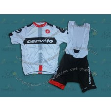 2014 Team Cervelo White  Cycling Jersey And Bib Shorts Set