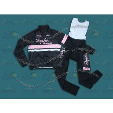 2014 Rapha Black And Pink  Thermal Long Cycling Long Sleeve Jersey And Bib Pants Set