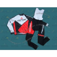 2014 Merida White And Red  Cycling Long Sleeve Jersey And Bib Pants Set
