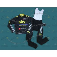 2013 SKY Black And Yellow Cycling Long Sleeve Jersey And Bib Pants Set