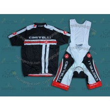 2014 Castelli Free Style Black and Red  Cycling Jersey And Bib Shorts Set
