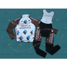 2014 Ag2r-La Mondiale  Thermal Long Cycling Long Sleeve Jersey And Bib Pants Set