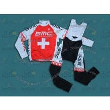 2014 BMC Switzerland Champion  Thermal Long Cycling Long Sleeve Jersey And Bib Pants Set