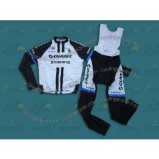 2014 Team Giant Shimano White  Cycling Long Sleeve Jersey And Bib Pants Set