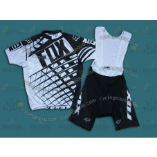 2014 Fox Black and Whtie  Cycling Jersey And Bib Shorts Set