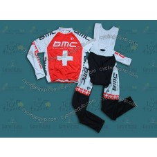 2014 BMC Switzerland Champion  Cycling Long Sleeve Jersey And Bib Pants Set