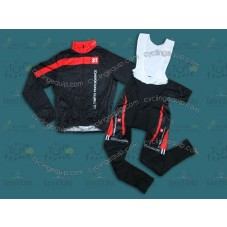 2014 Team 3T Black  Thermal Long Cycling Long Sleeve Jersey And Bib Pants Set