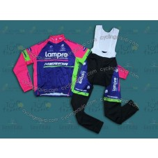2014 Team Lampre - Merida  Thermal Long Cycling Long Sleeve Jersey And Bib Pants Set