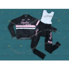 2014 Rapha Black And Pink  Cycling Long Sleeve Jersey And Bib Pants Set