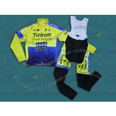 2014 Tinkoff Saxo Bank  Thermal Long Cycling Long Sleeve Jersey And Bib Pants Set