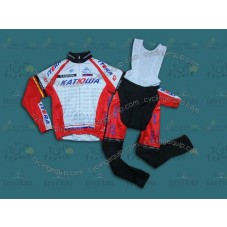 2014 Team Katusha  Thermal Long Cycling Long Sleeve Jersey And Bib Pants Set