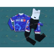 2014 Francaise des Jeux Blue Cycling Long Sleeve Jersey And Bib Pants Set