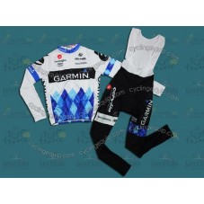 2011 Tour De France Garmin Cervelo White Cycling Long Sleeve Jersey And Bib Pants Set