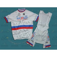 2011 Katusha Russia Champion Cycling Jersey And Bib Shorts Set