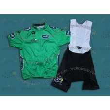 2014 TDF Points Classification Green  Cycling Jersey And Bib Shorts Set