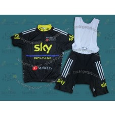 2013 SKY Black And Yellow  Cycling Jersey And Bib Shorts Set