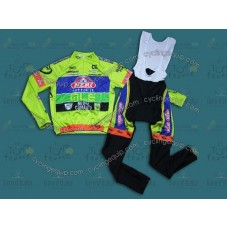 2014 Neri Sottoli- Yellow Fluo  Cycling Long Sleeve Jersey And Bib Pants Set