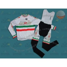 Katusha White Italy Champion Thermal Cycling Long Sleeve Jersey And Bib Pants Set