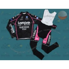 Lampre Black Thermal Cycling Long Sleeve Jersey And Bib Pants Set