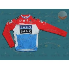 Saxo Bank Blue/Red Thermal Cycling Long Sleeve Jersey