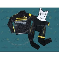 2013 LiveStrong Black Thermal Long Cycling Long Sleeve Jersey And Bib Pants Set