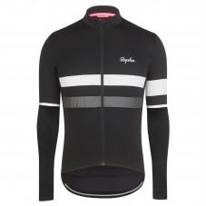 2017 Rapha Brevet Black-White Long Sleeve Cycling Jersey