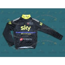 2013 SKY Black And Yellow  Thermal Cycling Long Sleeve Jersey