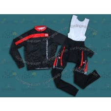 2014 Team 3T Black  Cycling Long Sleeve Jersey And Bib Pants Set