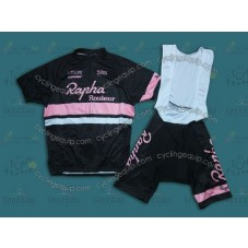 2014 Team Rapha Black/Pink  Cycling Jersey And Bib Shorts Set
