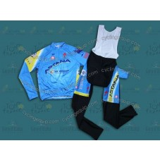 2014 Team Astana Cycling Long Sleeve Jersey And Bib Pants Set