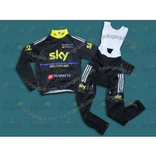 2013 SKY Black And Yellow  Thermal Long Cycling Long Sleeve Jersey And Bib Pants Set