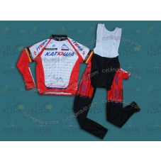 2014 Team Katusha  Cycling Long Sleeve Jersey And Bib Pants Set