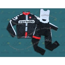 2014 Cervelo Black Thermal Long Sleeve Cycling Jersey And Bib Pants Set