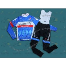 2014 Garmin Sharp Tour de France  Thermal Long Cycling Long Sleeve Jersey And Bib Pants Set
