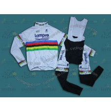2014 Lampre World Champion  Thermal Long Cycling Long Sleeve Jersey And Bib Pants Set