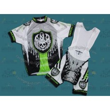Rock Racing Grey/Green Cycling Jersey And Bib Shorts Set