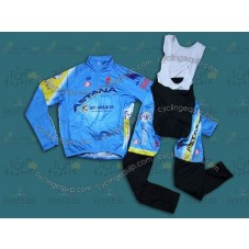 2014 Astana  Thermal Long Cycling Long Sleeve Jersey And Bib Pants Set